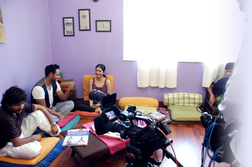 Fox Traveller Interviewing Namrata @ Namrata's World of Yoga ,Goa, 24 Sept 2012